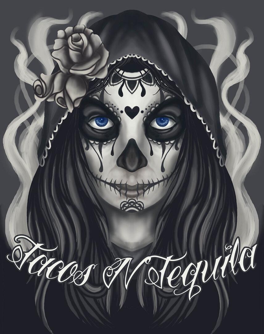 Artwork of skull girl