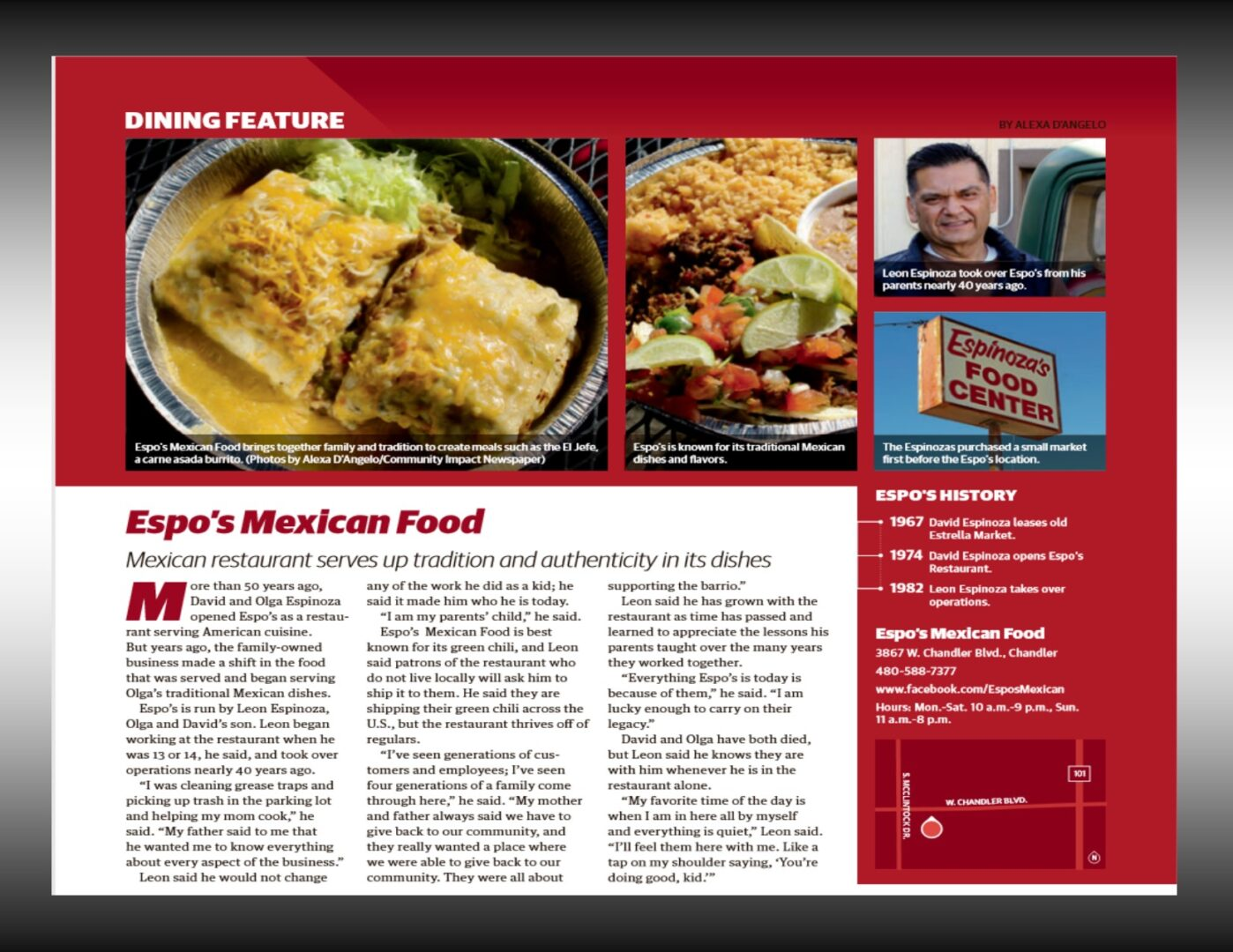 photo of a magazine feature on Espo's Mexican Food